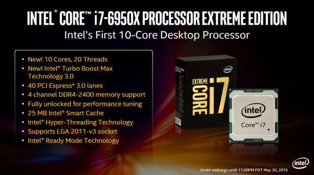 INTEL HAVE ANNOUNCED THE NEW 10-CORE I7-6950X EXTREME EDITION CPU